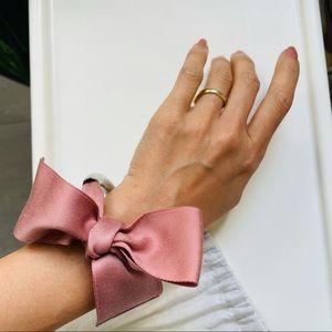 COS ribbon bow silver color bracelet cuff bangle